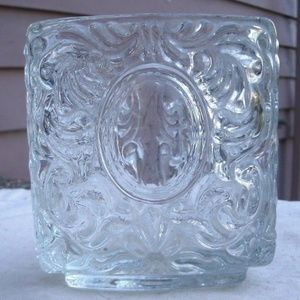 Vtg Victorian Clear Glass Candle Holder